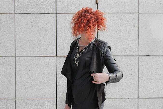 מעיל עור שחור