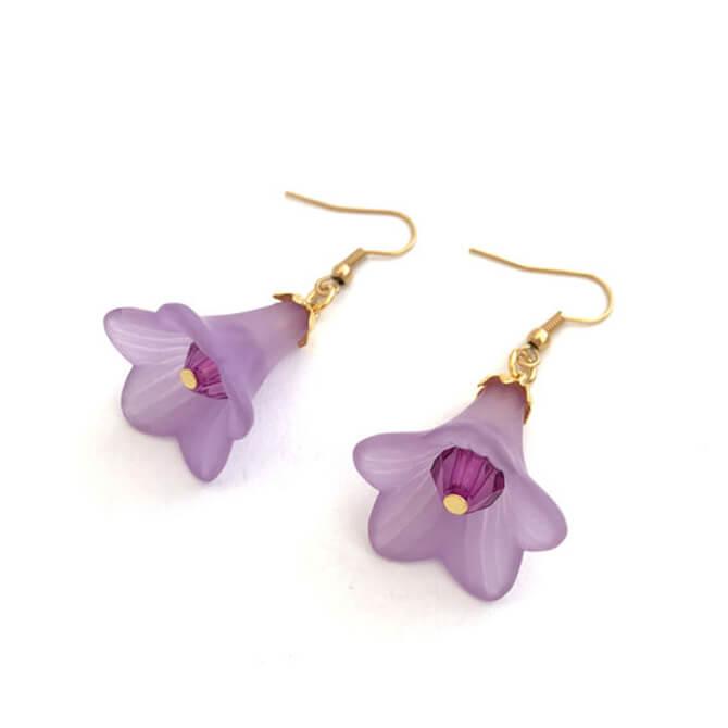 עגילי פרח בצבע סגול