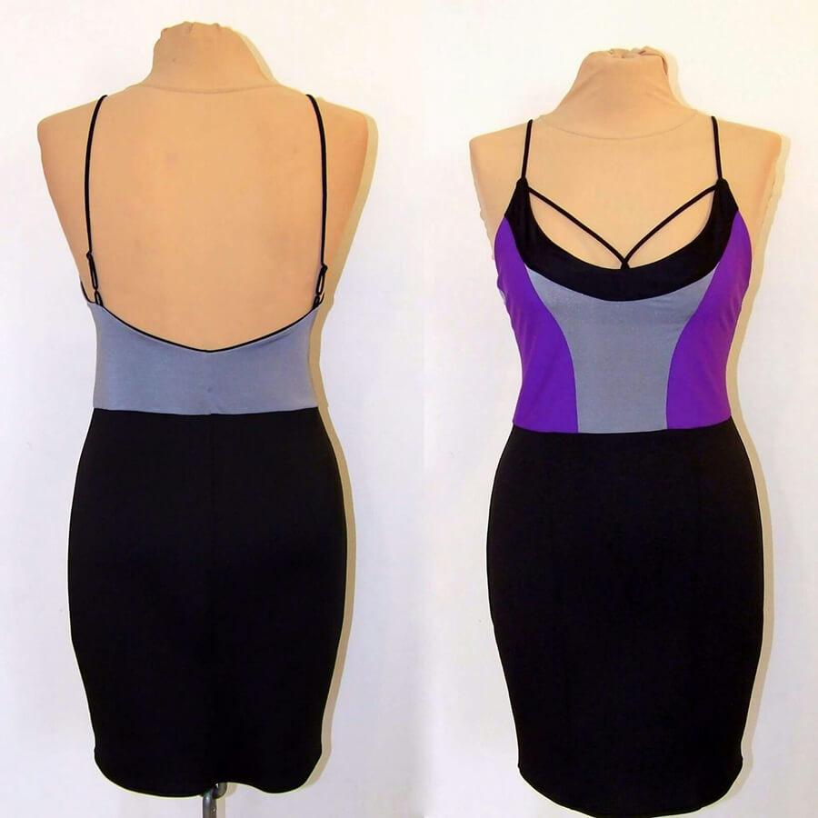 שמלה עם חלק עליון סגול וחלק תחתון שחור