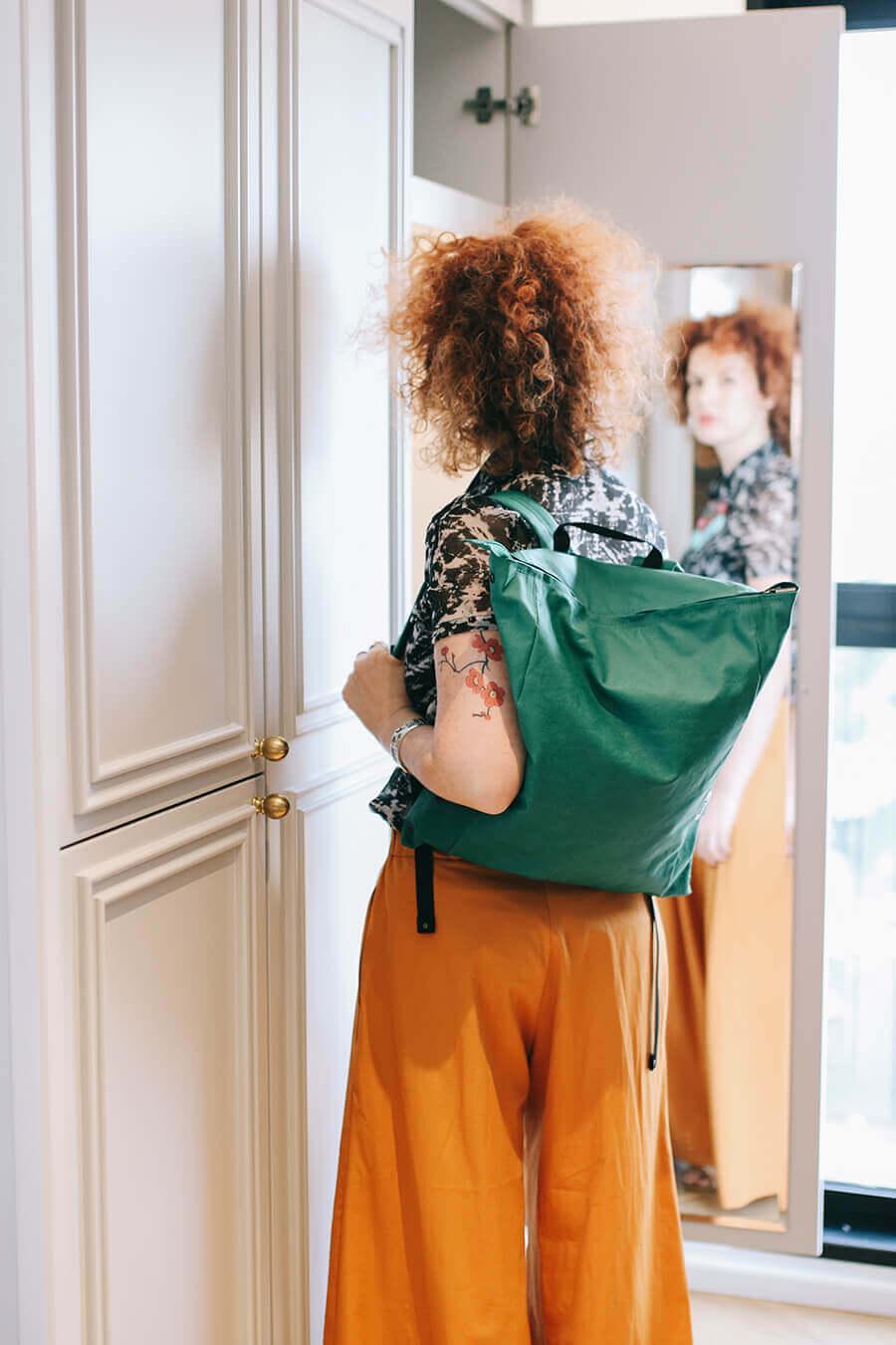 תיק גב בצבע ירוק