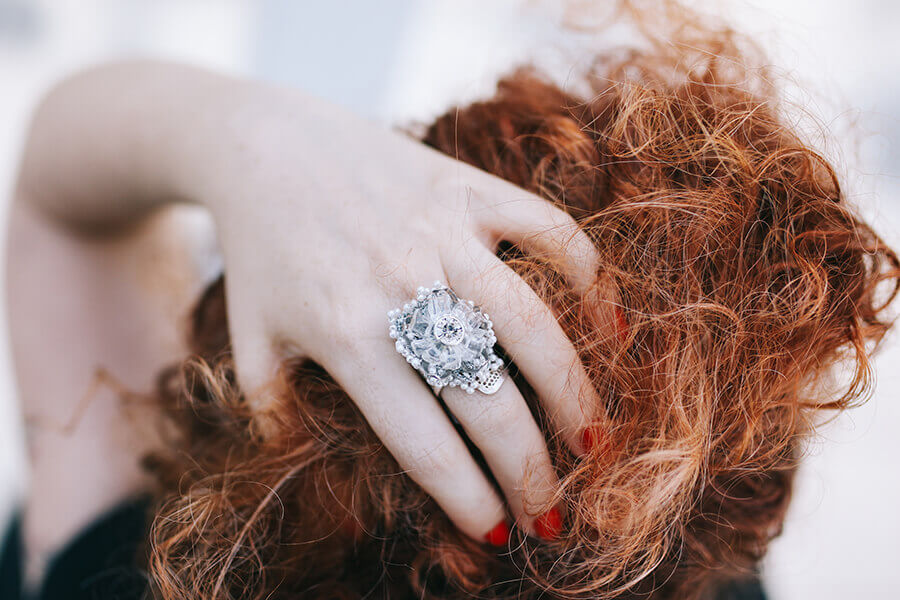 טבעת כסף גדולה בעיצוב ענת דברים יפים