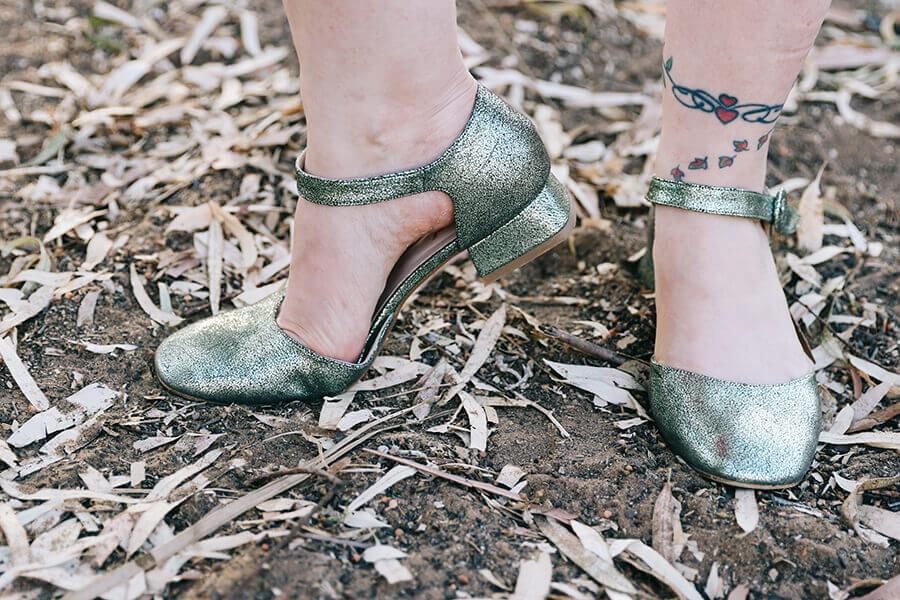 נעלי עקב ירוקות